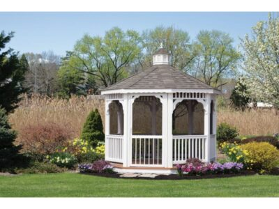 #14 (10' White Vinyl Octagon Gazebo With Screen Package)