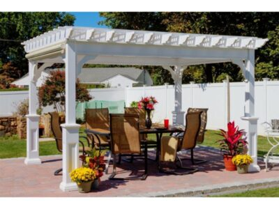 #5 (10' x 12' Classic White Vinyl Pergola With Lattice Roof & 5 x 5 Square White Superior Posts)