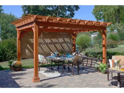 #3 (10' x 12' Classic Wood Pergola (Stained Cedar) With Burlap Side Shade & Standard 5 x 5 Square Wood Posts)