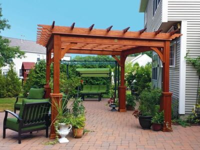 #2 (10' x 12' Classic Wood Pergola (Stained Canyon Brown) With 5 x 5 Square Wood Superior Posts)