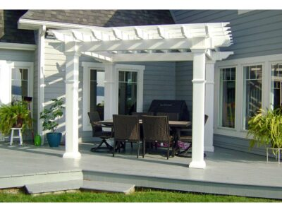 #22 (10' x 12' Montana White Vinyl Pergola WIth 8 x 8 Square White Vinyl Posts)