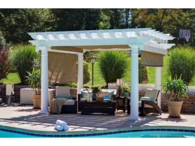 "#16 (10' x 12' Montana White Vinyl Pergola EZ Shade Canopy (Linen Tweed), (2) Side Shades (Burlap) With 10"" White Roman Columns)"