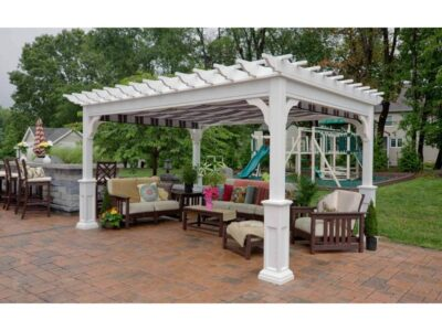 #8 (10' x 14' Classic Vinyl Pergola With EZ Shade Canopy (Burgundy, Black & White) & 5 x 5 Square White Superior Posts)