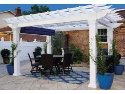 #19 (10' x 14' Montana White Vinyl Pergola With 8 x 8 Square White Vinyl Posts)