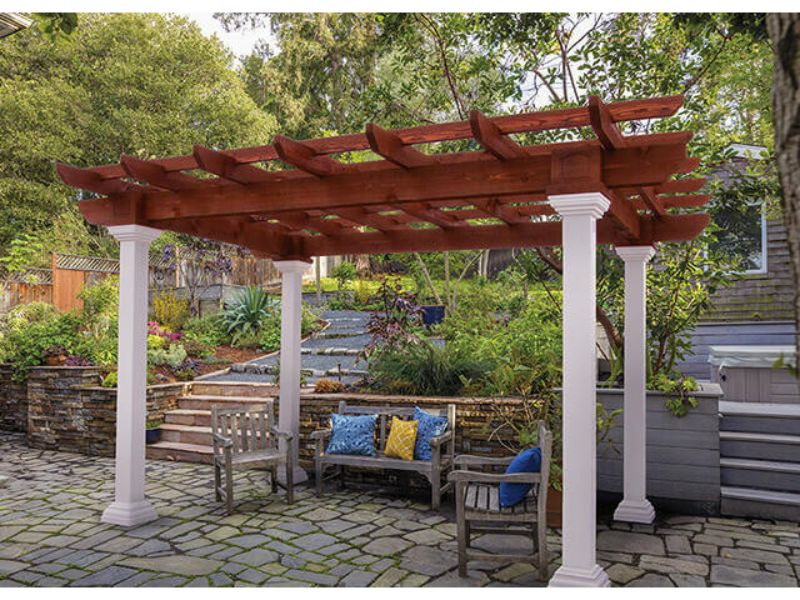 10' x 14' Montana Wood Pergola With Canyon Brown Stain