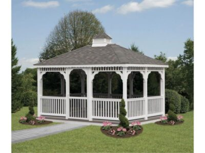 #17 (10' x 14' White Vinyl Rectangle Gazebo With Screen Package)