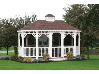 #15 (10' x 16' White Vinyl Oval Gazebo With Screen Package)