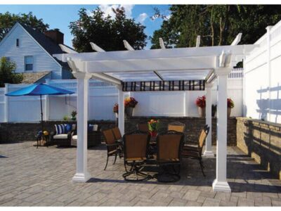 #20 (12' x 12' Montana White Vinyl Pergola With EZ Shade Canopy (Burgundy, Black & White) & 6 x 6 Square White Vinyl Posts)