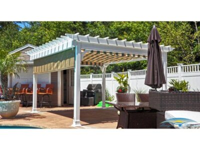 #7 (12' x 14' Classic Vinyl Pergola With EZShade Canopy, Side Shade (Black Forest, Fancy) & Standard 5 x 5 Square White Vinyl Posts)
