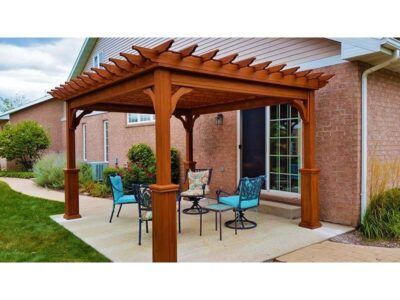 #4 (12' x 14' Classic Wood Pergola (Stained Canyon Brown) With Lattice Roof & 5 x 5 Square Wood Superior Posts)