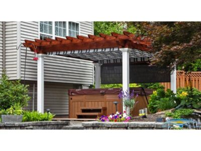 #14 (12' x 14' Montana Wood Pergola (Stained Canyon Brown) With EZ Shade Canopy (Navy Taupe, Fancy), Side Shade (Black) & 8 x 8 Square White Vinyl Posts)