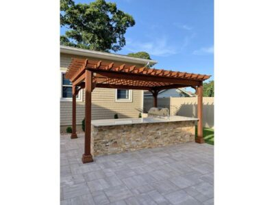 #6 (12' x 16' Classic Wood Pergola (Stained Canyon Brown) With Lattice Roof & Standard 5 x 5 Square Wood Posts)