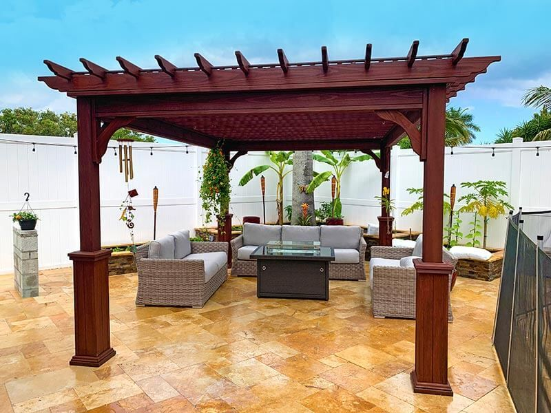 #1 (12' x 16' Classic Wood Pergola (Stained Mahogany) With Wood Lattice Roof & 5 x 5 Square Wood Superior Posts)