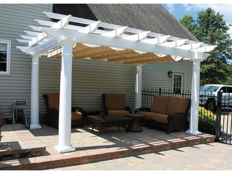"#21 (12' x 16' Montana White Vinyl Pergola With EZ Shade Canopy (Linen Tweed) & 10"" White Roman Columns)"