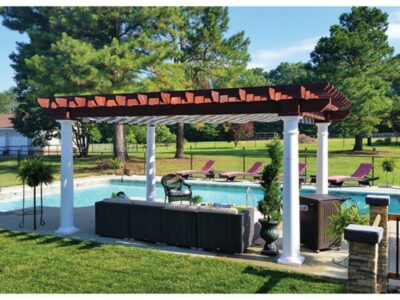 "#12 (12' x 16' Montana Wood Pergola (Stained Mahogany) With 10"" White Roman Columns) #12"