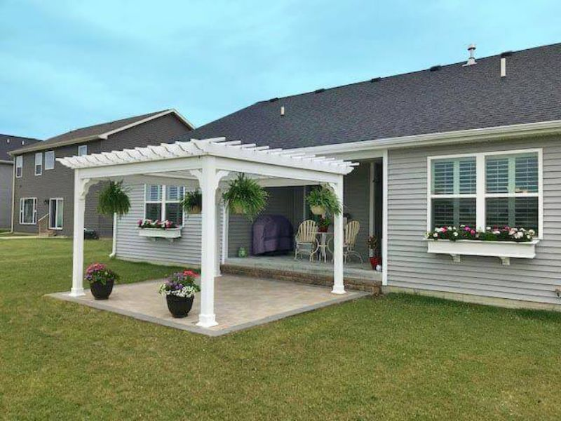 #10 (14' x 14' Classic White Vinyl Pergola With Standard 5 x 5 Square White Posts)
