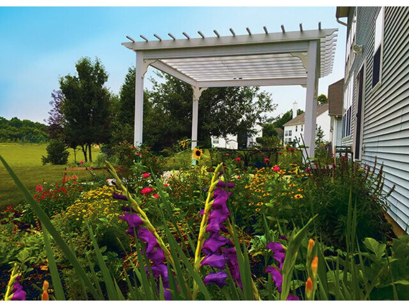 #9 (14' x 14' Classic White Vinyl Pergola With Standard 5 x 5 Square White Posts)