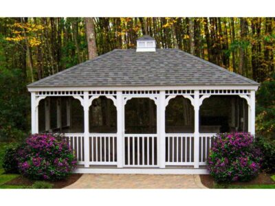#7 (14' x 20' White Vinyl Rectangle Gazebo With Screen Package)