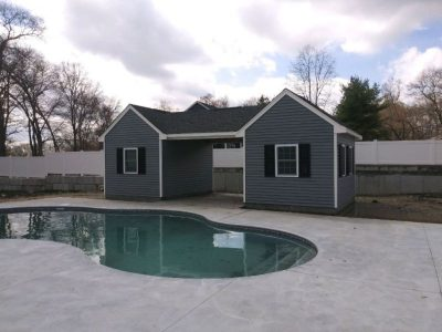 ((2) 10' x 14' Vinyl Custom Pool House Sheds With 12' Underpass)