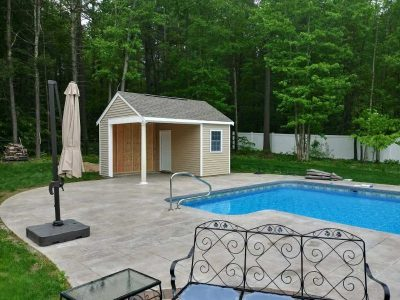 (12' x 16' Vinyl Custom Pool House Shed With Open Area)