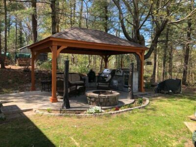 #11 (12' x 18' Wood Pavilion (Stained Cedar) With Standard 5 x 5 Square Wood Posts)