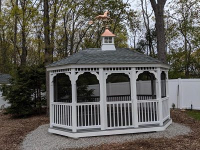 #3 (10' x 16' White Vinyl Oval Gazebo With Screen Package & Copper Cupola)