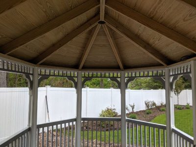 #4 (10' x 16' White Vinyl Oval Gazebo With Screen Package & Copper Cupola)