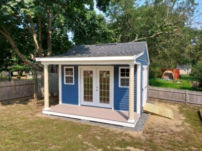 (10' x 14' Vinyl Custom Shed With 4' Front Overhang)
