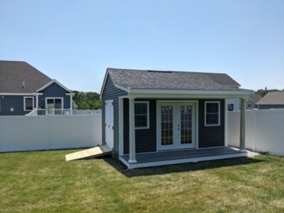 #40 (12' x 16' Vinyl Custom Pool House Shed With 4' Front Overhang)