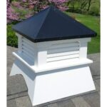 "#2 20"" Composite Vinyl Louvered Cupola With Straight Black Aluminum Roof"