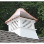 "#3 20"" Composite Vinyl Louvered Cupola With Concave Copper Roof"