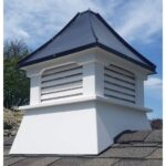 "#4 20"" Composite Vinyl Louvered Cupola With Concave Black Aluminum Roof"