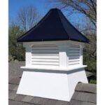 "#8 24"" Composite Vinyl Louvered Cupola With Concave Black Aluminum Roof"