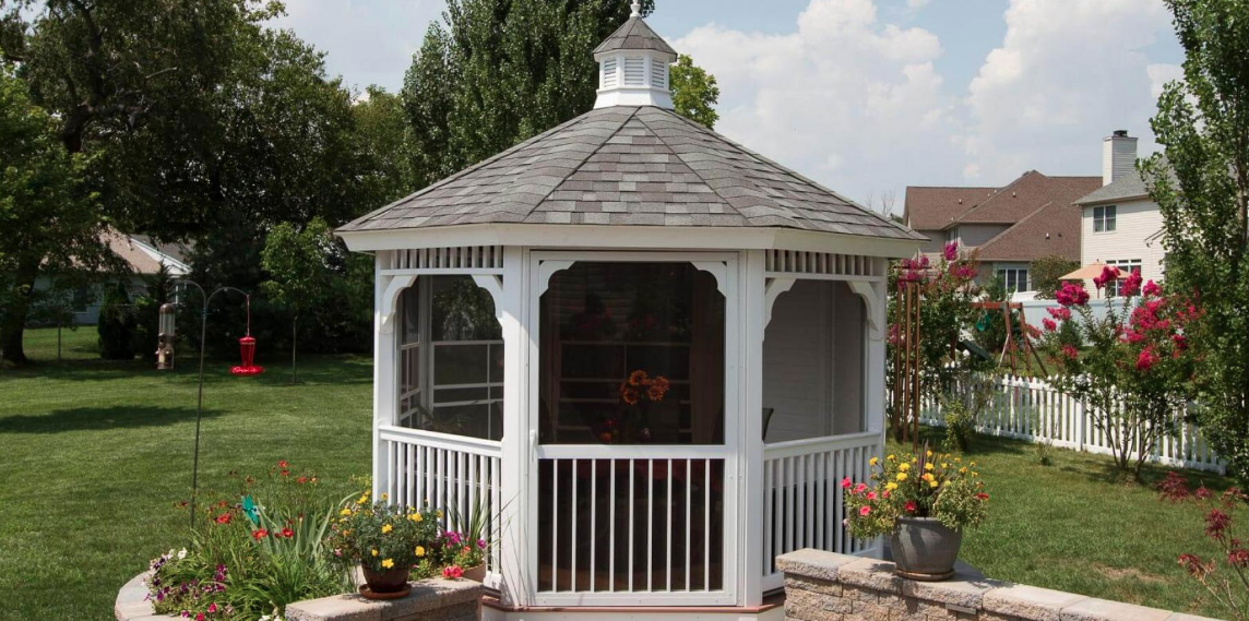 12' White Vinyl Octagon Gazebo With Screen Package