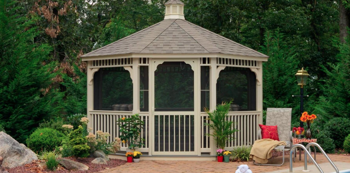 14' Almond Vinyl Octagon Gazebo With Screen Package