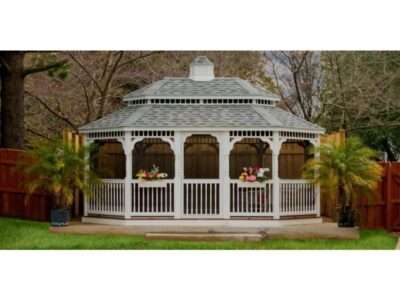 #20 (12' x 16' White Vinyl Oval Gazebo With Pagoda Roof & Screen Package)