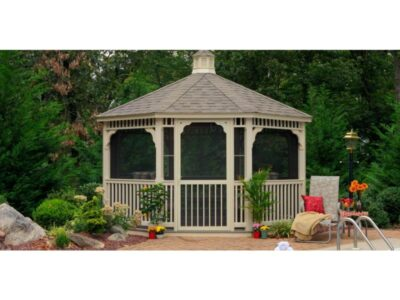 #22 (14' Almond Vinyl Octagon Gazebo With Screen Package)