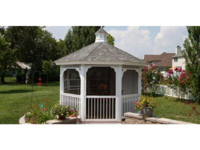 #27 (12' White Vinyl Octagon Gazebo With Screen Package)