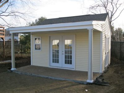 #28 (12' x 16' Vinyl Custom Shed With 6' Front Overhang)