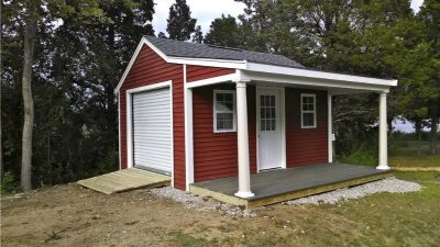 #52 (12' x 16' Vinyl Custom Shed With 6' Front Overhang)