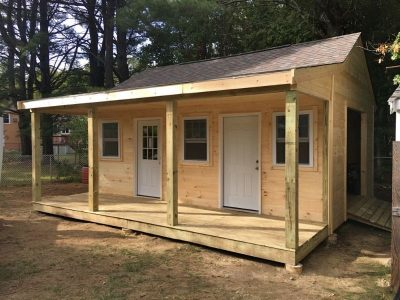 #46 (14' x 24' Pine Custom Shed With 4' Front Overhang)