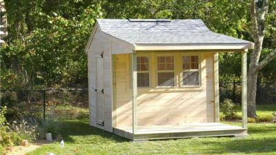 #53 (8' x 12' Pine Custom Shed With 4' Front Overhang)