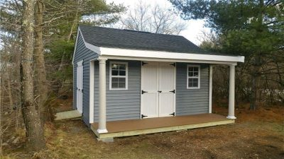 #54 (12' x 16' Vinyl Custom Shed With 4' Front Overhang)
