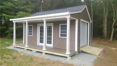#15 (12' x 20' Vinyl Custom Shed With 4' Front Overhang)