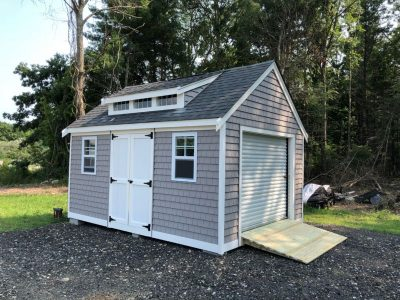 #2 (12' x 16' Vinyl Shakes Custom Shed With 8' Shed Dormer)