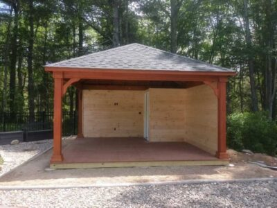 #12 (16' x 16' Wood Pavilion (Stained Cedar) With 7 x 7 Square Wood Posts & Custom Inside Enclosement)