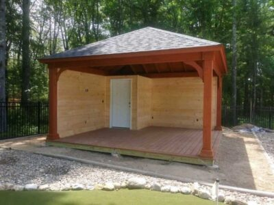 #13 (16' x 16' Wood Pavilion (Stained Cedar) With 7 x 7 Square Wood Posts & Custom Inside Enclosement)