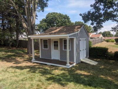 (10' x 14' Vinyl Custom Pool House Shed With 4' Front Overhang)