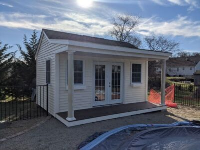 #15 (12' x 16' Vinyl Custom Pool House Shed With 4' Front Overhang)