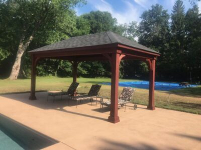 #7 (10' x 18' Wood Pavilion (Stained Mahogany) With 7 x 7 Square Wood Posts)
